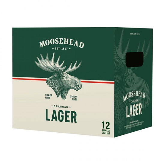 Cerveza Moosehead Lager botella 12 pack 355ml