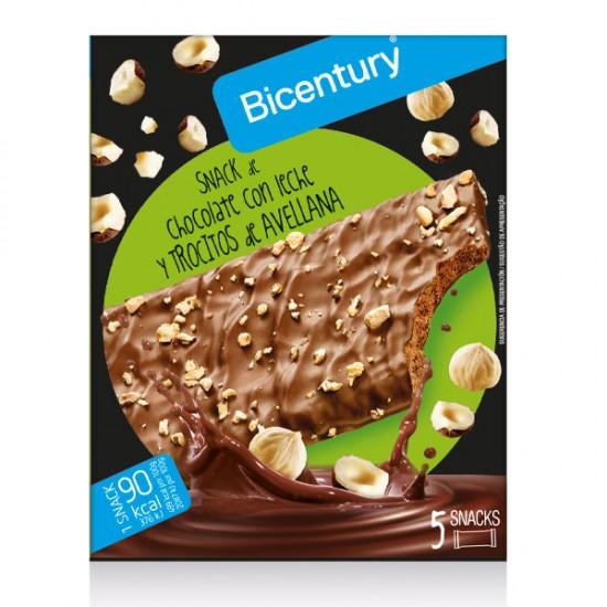 Barrita chocolate con leche y Trozos de avellana Bicentury 1X5X18gr